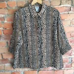 Vintage EUC sheer animal print blouse